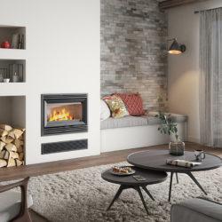 insert Jotul C 620 en fonte, vitre devant. Cheminée avec insert, cheminée moderne. Installateur en Savoie Atre et Loisirs, installateur en Haute-Savoie installateur en Isère.