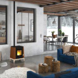 poêle à granulés bas avec socle en bois Jotul . Atre et Loisirs Installateur à Montmélian, Chambéry, Grenoble, Annecy